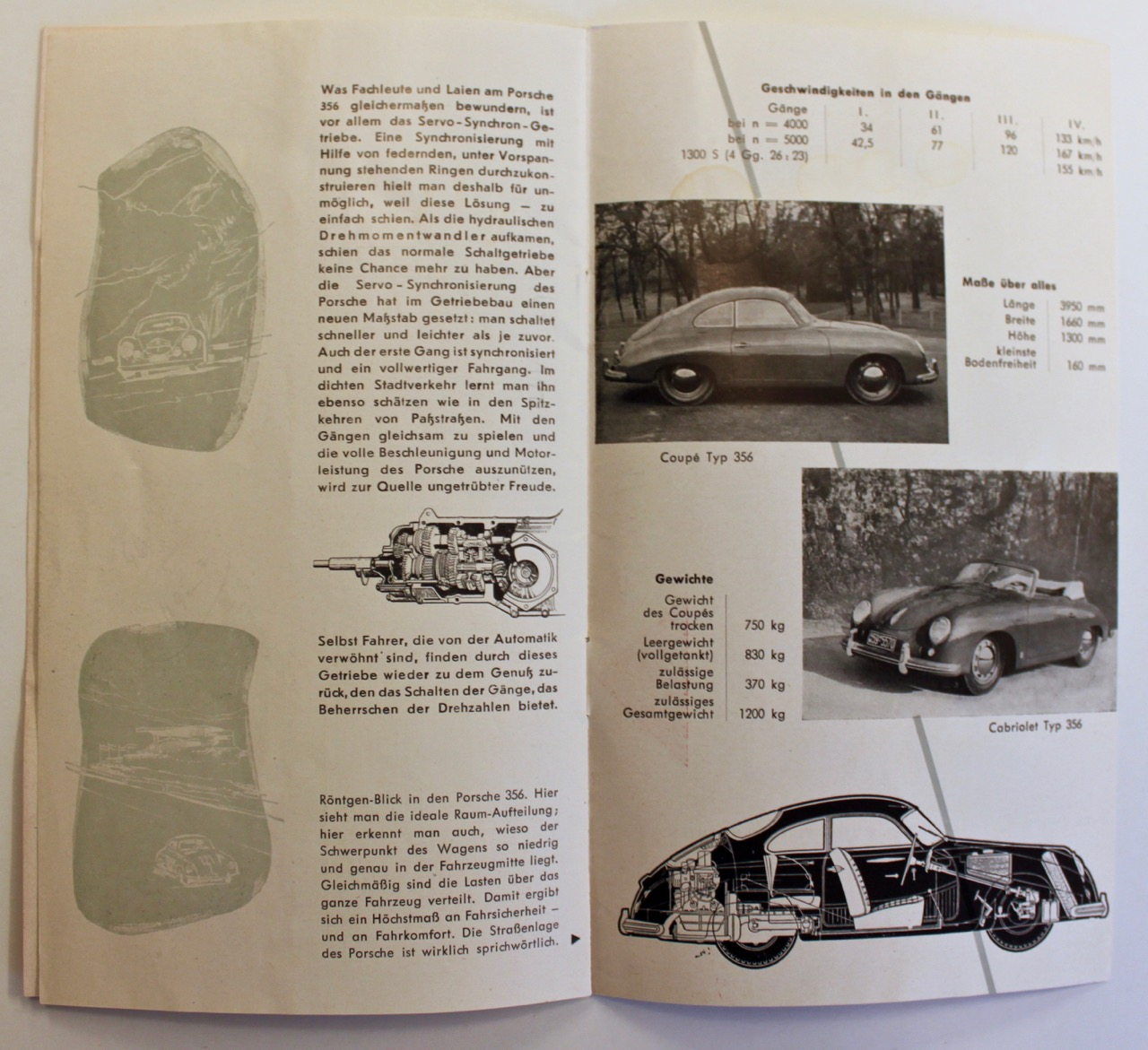 Porsche 356 Technical Data Brochure From 1955 Vintage Cars