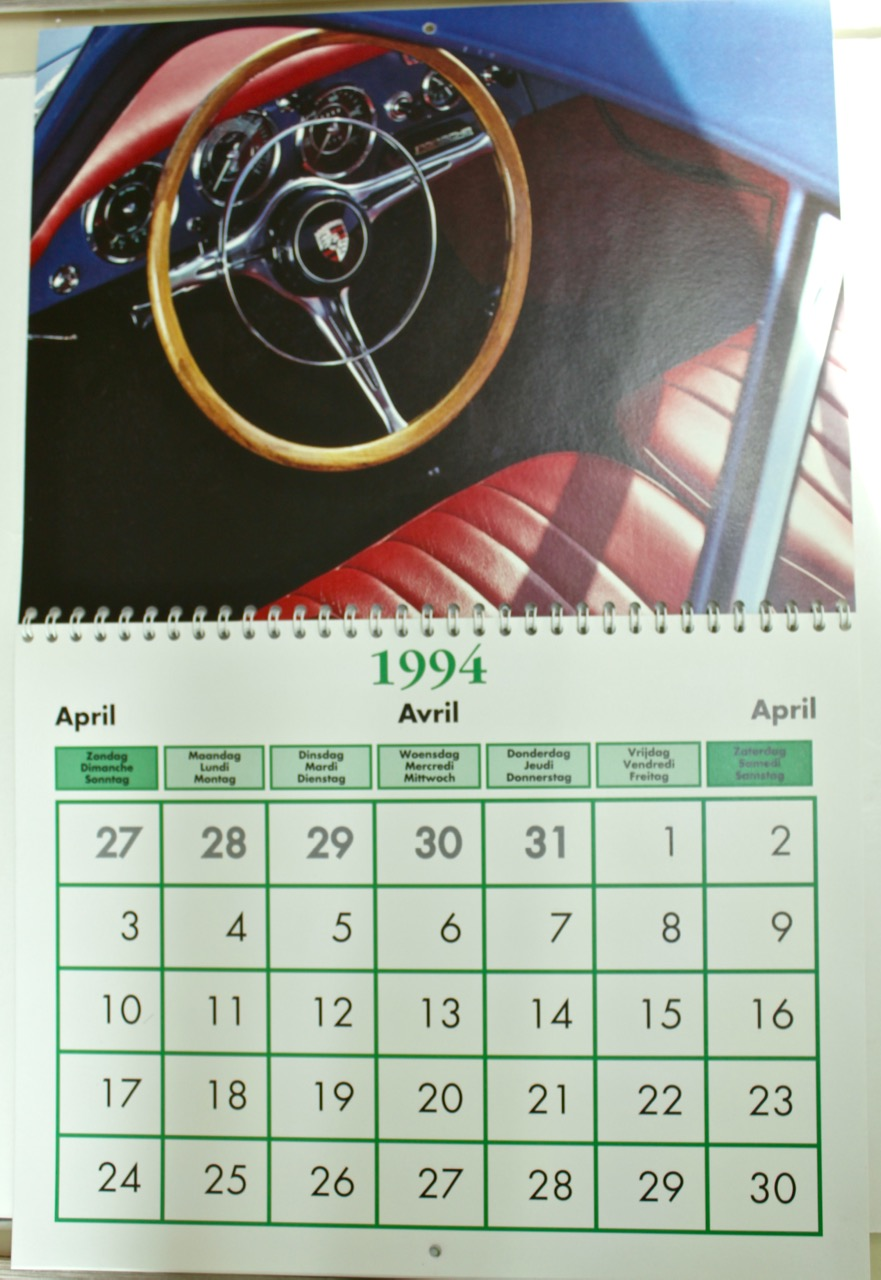 Porsche 356 Club Belgium Calendar Vintage Cars